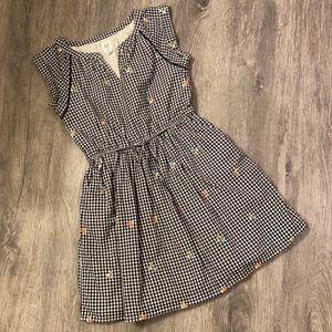 GAP black/white gingham floral dress Size 8